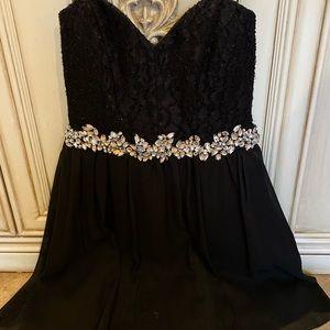Gorgeous black crystal girls party dress